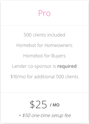 Homebot Pricing for REA